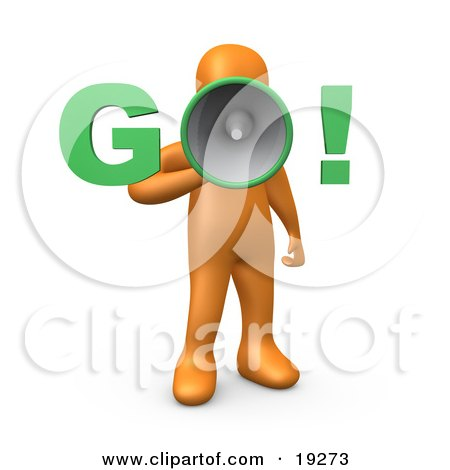 """Clipart Illustration of an Orange Person Screaming """"Go!"""" Through A Loud Megaphone, Symbolizing The Start Of Something, A Race, Or Job Hunting by 3poD"""