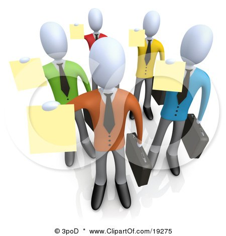 Clipart Illustration of a Group Of Businessmen In Colorful Shirts, Carrying Briefcases And Holding Their Resumes Up At A Job Interview by 3poD