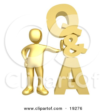 Clipart Illustration of a Gold Person Leaning Against A Stacked Questions And Answers Icon by 3poD