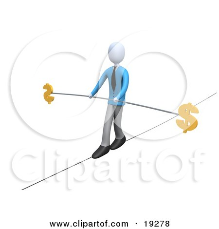 Clipart Illustration of a Businessman Walking And Balancing On A Tightrope With A Bar And Two Dollar Signs by 3poD