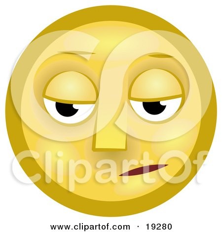 Clipart Illustration of a Gloomy Yellow Smiley Face Pouting by AtStockIllustration