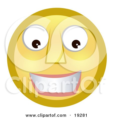 Clipart Illustration of a Friendly Smiling Yellow Smiley Face by AtStockIllustration