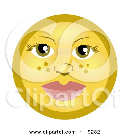 Clipart Illustration of a Pretty Female Freckle Faced Yellow Smiley With Green Eyes by AtStockIllustration