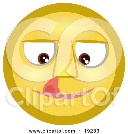 Clipart Illustration of a Craving Yellow Smiley Face Licking Its Lips by AtStockIllustration