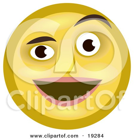 Clipart Illustration of a Pleasantly Surprised Yellow Smiley Face Man Smiling And Raising One Eyebrow by AtStockIllustration