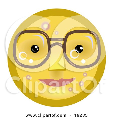 Clipart Illustration of a Four Eyed Yellow Smiley Face Wearing Glasses by AtStockIllustration