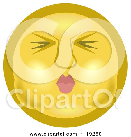 Clipart Illustration of a Yellow Smiley Face Puckering Its Lips And Holding Its Breath In Its Cheeks by AtStockIllustration