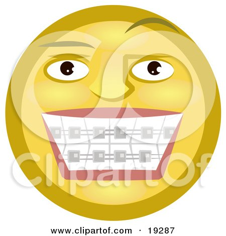 Clipart Illustration of a Metal Mouth Yellow Smiley Face Showing Its Braces On Its Teeth by AtStockIllustration