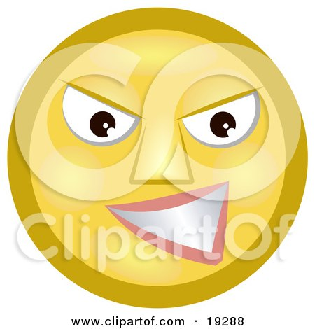 Clipart Illustration of a Meany Yellow Smiley Face Grinning At A Victim Of Bullying by AtStockIllustration