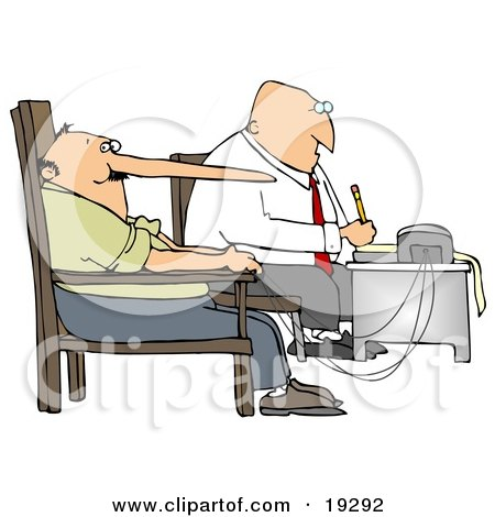 Clipart Illustration of a White Polygraph Examiner Guy Seated In Front Of A Machine While Interrogating A Lying Man Who's Nose Keeps Growing Like Pinocchio With Every Fib He Tells During A Lie Detector Test by djart
