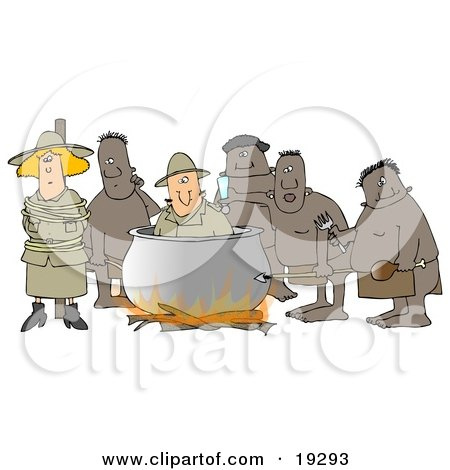 Clipart Illustration of a White Couple, A Man And Women, American Tourists, Caught By Native Cannibals In A Foreign Country With The Man Being Cooked In The Bot And The Woman Tied To A Pole by djart