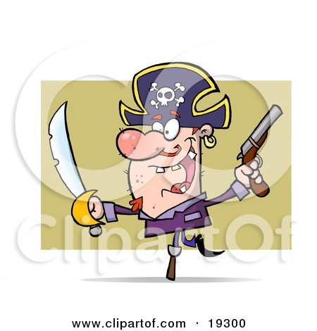 Clipart Illustration Of A Hyper Peg Legged Pirate Guy Wearing A Jolly Roger Hat With The Skull And Crossbones And Waving A Sword And Pistil Around by Hit Toon