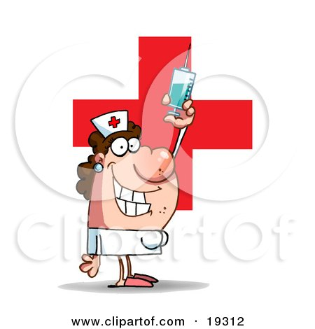 Clipart Illustration Of A Lady Nurse In A White Uniform, Standing In Front Of A Big Red Cross And Holding Up A Big Needle And Syringe Of Medicine by Hit Toon