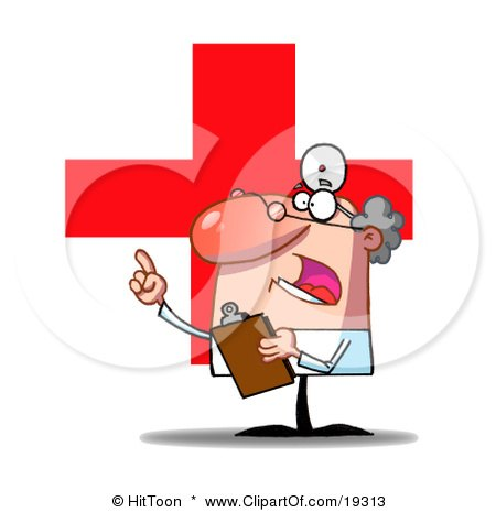 Clipart Illustration Of A Worried Doctor Guy Holding A Clipboard And Pointing And Shouting After An Ignorant Hospital Patient by Hit Toon