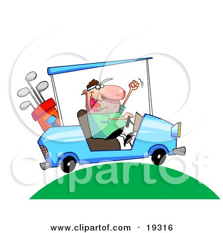 Excited Man Driving A Blue Golf Car With His Clubs In The Back Up Over A Green Hill On A Golf Course Posters, Art Prints