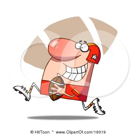 Clipart Illustration Of A Proud Football Guy In Red Running With The Ball During A Game