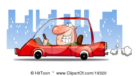 Man Smiling And Passing By While Driving His New Red Compact Car Through The City At Night Posters, Art Prints