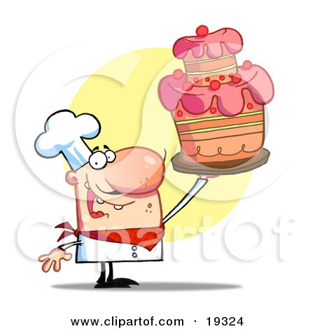 Clipart Illustration Of A Happy Bakery Chef Holding Up A Beautifully Decorated Cake After Completing The Icing