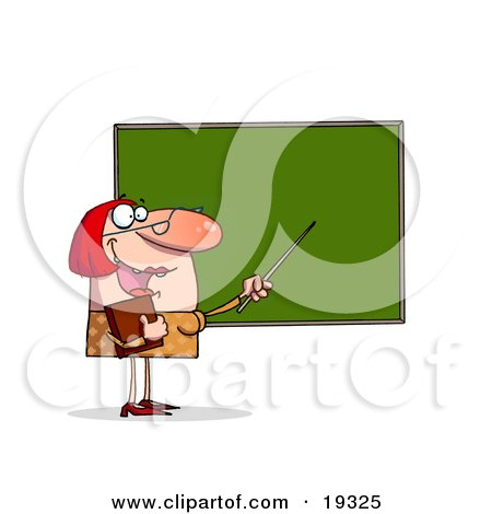 Red Haired School Teacher In A Yellow Dress, Holding A Book And Using Her Pointer While Standing And Teaching At The Chalk Board In Front Of Her Class Posters, Art Prints