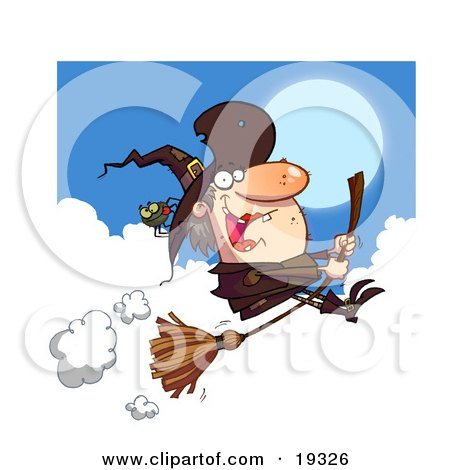 Clipart Illustration Of An Ugly Female Witch In Brown With A Spider On Her Hat, Flying Through The Clouds On Her Bromstick by Hit Toon