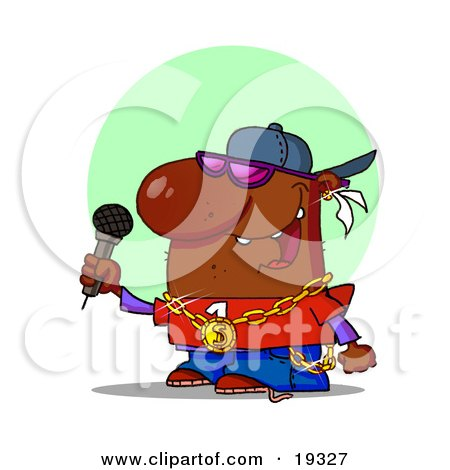 Clipart Illustration Of An African American Male Rapper Wearing Shades, A Hat And Bling, Rapping Into A Microphone While Performing On Stage At A Music Concert by Hit Toon