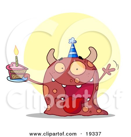 Clipart Illustration Of A Hyper Partying Monster With Horns And Spots, Wearing A Blue Party Hat And Holding A Cupcake With A Candle Lit At A Birthday Party by Hit Toon