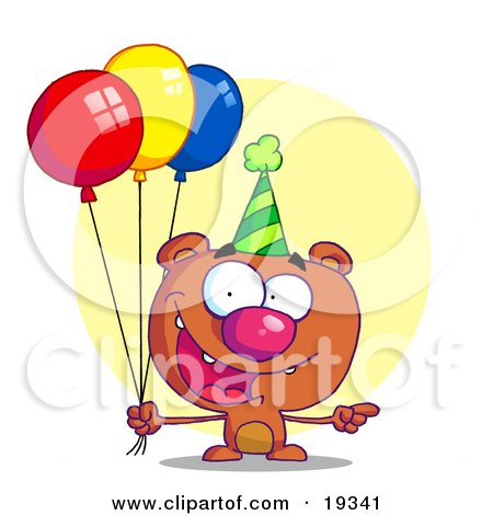 Happy Bear Wearing A Green Party Hat And Holding Colorful Balloons At A Birthday Party Posters, Art Prints