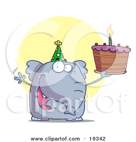 Clipart Illustration Of A Party Animal, An Elephant, Wearing A Green Party Hat And Holding Up A Birthday Cake With A Lit Candle by Hit Toon