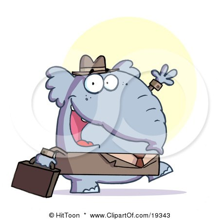Gray Elephant Business Guy In A Hat And Suit, Carrying A Briefcase To Work And Waving Posters, Art Prints
