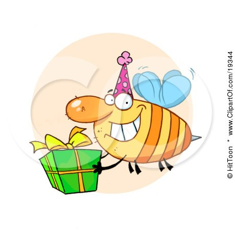 Clipart Illustration Of A Grinning Bumbe Bee With A Stinger, Wearing A Pink Party Hat And Carrying A Green And Yellow Birthday Present To A Bday Party by Hit Toon