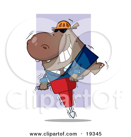 Clipart Illustration Of A Construction Worker Hippo In A Hardhat And Suit, Riding On A Jack Hammer While Working by Hit Toon