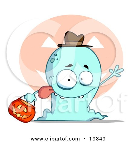 Clipart Illustration Of A Goofy Blue Toothy Ghost Sticking His Tongue Out And Waving While Trick Or Treating With A Pumpkin Bucket