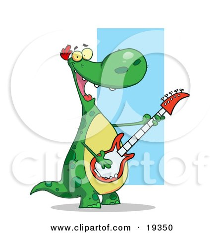 Clipart Illustration Of A Happy Green Dinosaur With A Yellow Belly, Having A Good Time While Rocking Out On Stage And Playing His Guitar In His Music Band by Hit Toon