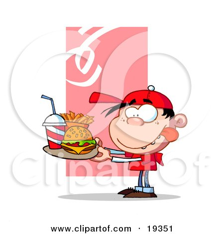 Clipart Illustration Of A Hungry Boy In Red, Licking His Lips And Carrying A Tray Of Fast Food With A Cheeseburger, French Fries And A Soda by Hit Toon