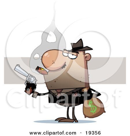 Bank Robber Carrying A Money Bag Full Of Cash And Holding A Pistil While Smoking A Cigar After Stealing From The Bank Posters, Art Prints