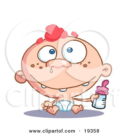 Clipart Illustration Of A Blue Eyed And Red Haired Freckeled Baby Boy In A Diaper, Holding A Bottle Of Formula With Snot Coming Out Of His Nose by Hit Toon