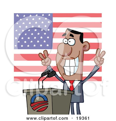 Smiley Politician Gesturing With Peace Signs And Standing At A Podium After Giving A Speech In Front Of An American Flag Posters, Art Prints