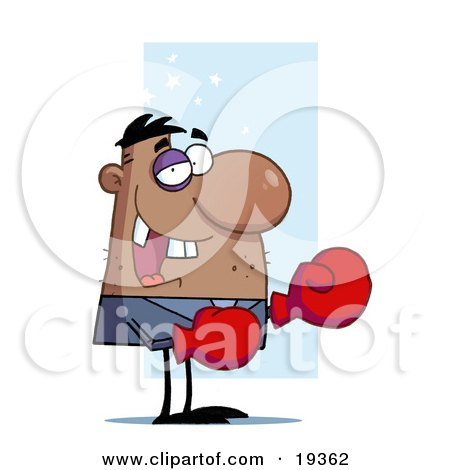 Black Eyed, Stubbled, Missing Toothed Boxer Guy Wearing Red Gloves And Laughing Posters, Art Prints