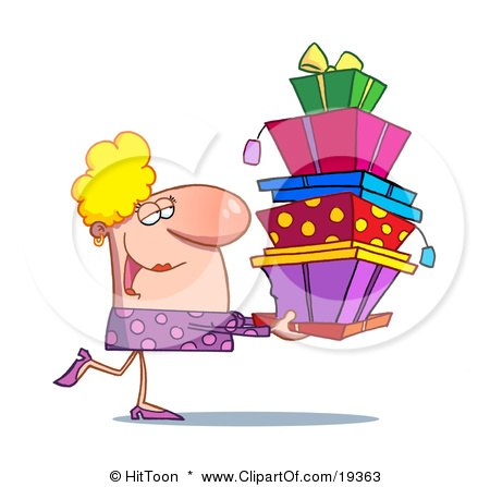 Clipart Illustration Of A Rich Blond Lady In Pink, Happily Carrying A Big Stack Of Birthday Or Christmas Presents For Her Family And Friends by Hit Toon