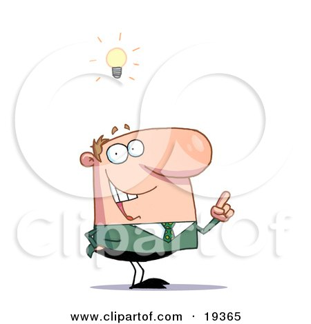 Creative Thinking Businessman In A Green Suit And A Lighbulb Over His Head Posters, Art Prints