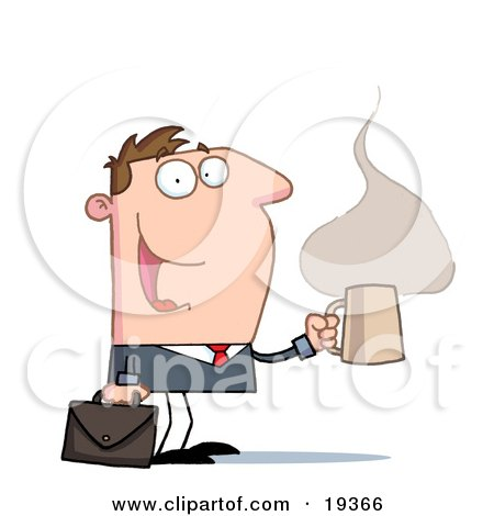 Clipart Illustration of a Perky Businessman With A Briefcase And Cup Of Hot And Steany Caffeinated Coffee, Heading To His Office by Hit Toon