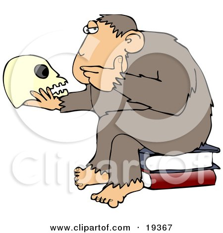 "Clipart Illustration of An Intelligent Monkey Gazing At A Human Skull In His Hand, While Sitting On A Pile Of Books, A Parody Of Hugo Rheinhold's ""Philosophizing Ape"" Sculpture That Was Created In 1892 by djart"