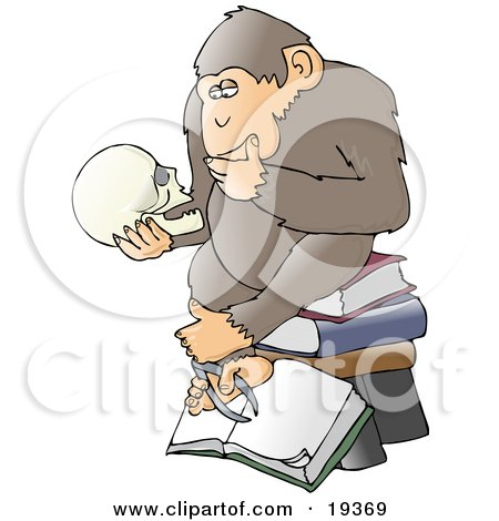 "Clipart Illustration of a Chimp In Thought, Sitting On Top Of A Stack Of Books And Staring At A Skull, A Parody Of Hugo Rheinhold's ""Philosophizing Ape"" Sculpture That Was Created In 1892 by djart"