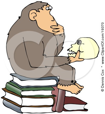 "Smart Chimpanzee Sitting On Top Of A Stack Of Books And Gazing At A Skull, A Parody Of Hugo Rheinhold's ""Philosophizing Ape"" Sculpture That Was Created In 1892 Posters, Art Prints"