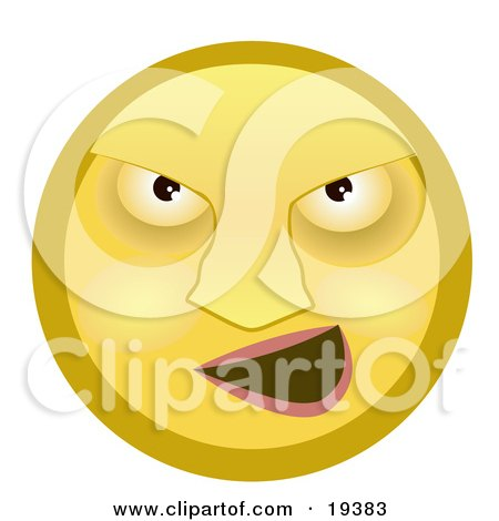 Clipart Illustration of a Mean Yellow Smiley Face Bully Grinning by AtStockIllustration