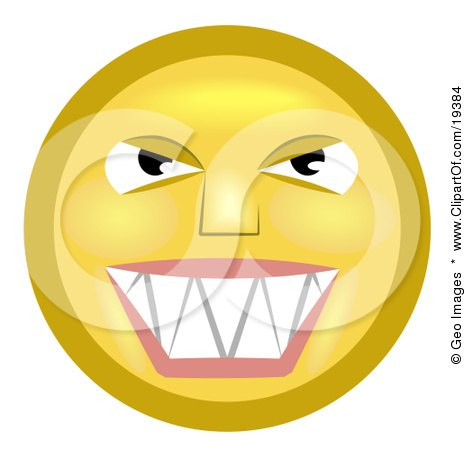 Clipart Illustration of a Mischievous Yellow Smiley Face Grinning While Thinking Evil Thoughts by AtStockIllustration