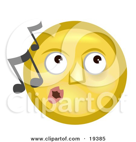 Clipart Illustration of a Melodious Yellow Smiley Face Whistling Tunes by AtStockIllustration