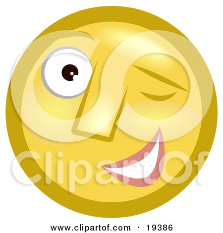 Flirty Winking Yellow Smiley Face Posters, Art Prints