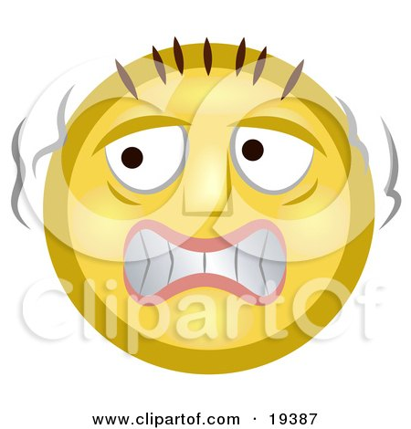 Clipart Illustration of a Scared Yellow Smiley Face Trembling Like A Chicken by AtStockIllustration