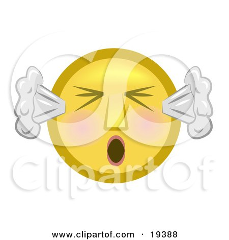 Clipart Illustration of a Furious Yellow Smiley Face With Flushed Cheeks, Blowing Smoke Out Of The Ears And Screaming by AtStockIllustration